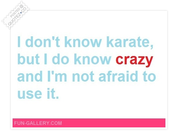I Don't Know Karate But I Do Know Crazy Quote