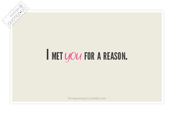I Met You For A Reason Quote