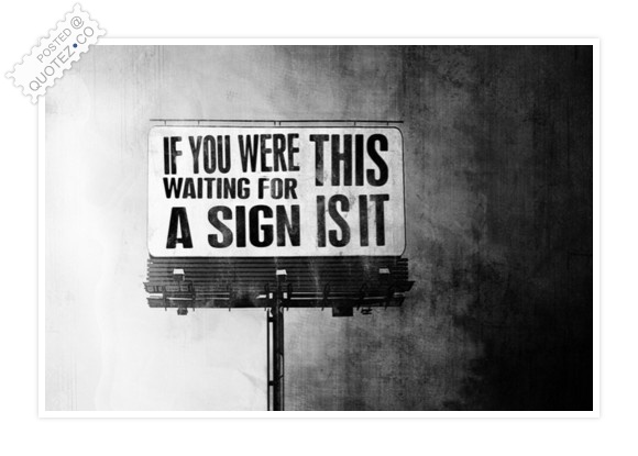 If You Were Waiting For A Sign This Is It Quote