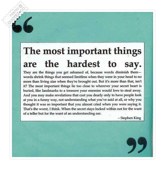 Important Things Are The Hardest To Say Quote