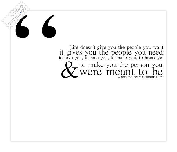 Life Gives You The People You Need Quote