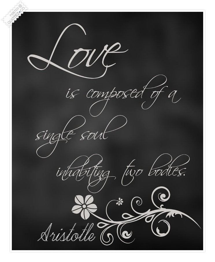 Love Is Composed Of A Single Soul Aristotle Love Quote