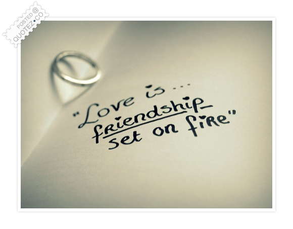 Love Is Friendship Set On Fire Quote