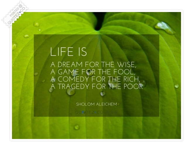 Life Is A Dream A Game A Comedy A Tragedy Quote