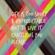 Life Is Too Short So Live It Exacly As You Please Quote