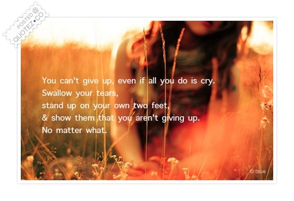You Can't Give Up No Matter What Quote