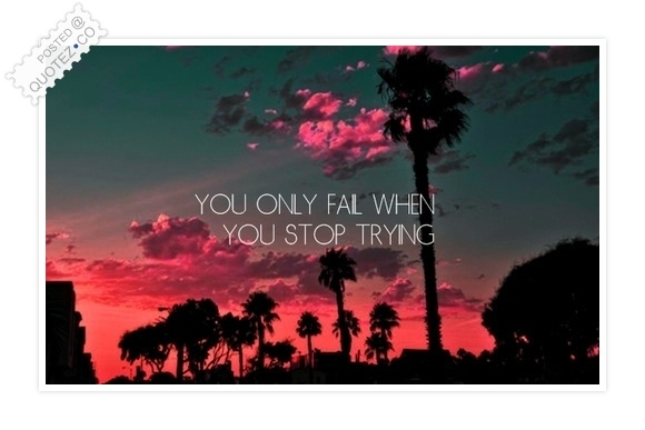 You Only Fail When You Stop Trying Quote